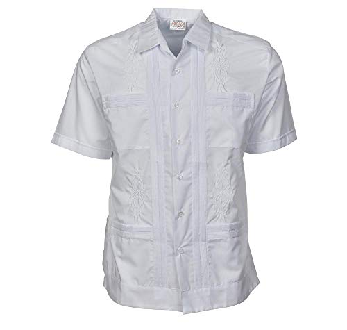 Penner's Original Guayabera Button Down Short Sleeve Shirt (Large, White)