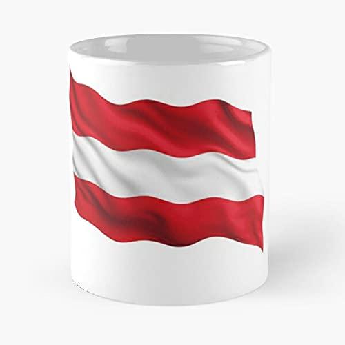 Austria Waving - Taza de café de cerámica blanca de cerámica para fanáticos de fútbol de 11 onzas