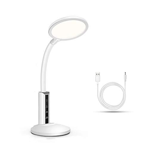 Lámpara Escritorio LED Lámpara de escritorio LED, lámpara de oficina regulable con control de carga USB Control táctil de 6 velocidades Lámpara de lectura de atenuación, luz blanca cálida Flexo de Esc