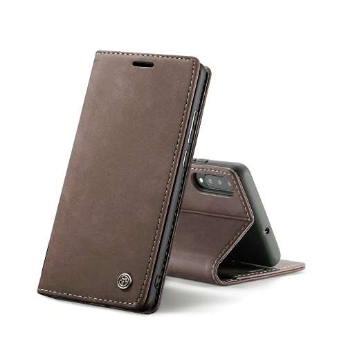 Chocoyi Compatible Funda Samsung Galaxy A50/A30s/A50s Flip Leather Edition,magnético, función de Soporte y Ranuras para Tarjetas-marrón