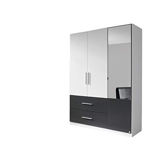 Kleiderschrank Luca weiß/grau 3 Türen B 136 cm Jugendzimmer Schlafzimmer Schrank Drehtüren Spiegelschrank Wäscheschrank