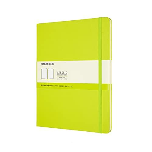 Moleskine - Classic Notebook, Taccuino con Pagine Bianche, Copertina Rigida e Chiusura ad Elastico, Formato XL 19 x 25 cm, Colore Verde Limone, 192 Pagine