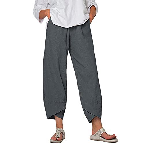 N\P Pantalones recortados sueltos con bolsillo de color sólido para mujer