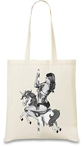 Sexy Heisses Babe-Reitpferd - Sexy Hot Babe Riding Horse Custom Printed Tote Bag| 100% Soft Cotton| Natural Color & Eco-Friendly| Unique, Re-Usable & Stylish Handbag For Every Day Use| Custom