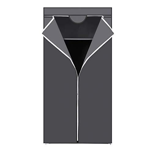 SONGMICS stoffenkast, garderobe, vouwbare garderobe met kledingstang, kledingrek, opbergruimte voor tassen, speelgoed, schoenen, slaapkamer, kleedkamer, 75 x 45 x 160 cm, grijs RYG83GY