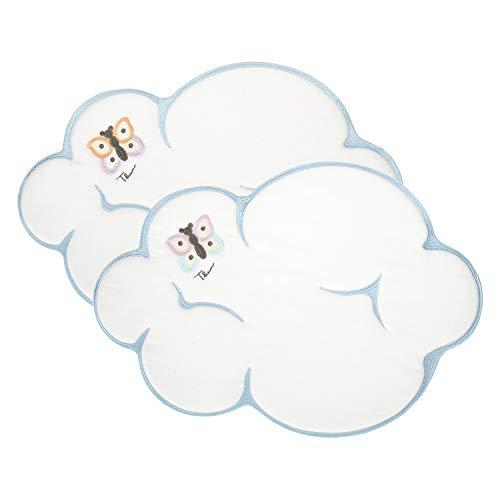 THUN ® - Set 2 tovagliette a Forma di Nuvola - Linea Pioggia di Colori - Cotone - 52x36 cm
