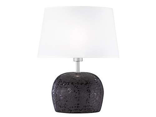 Dekorative Tischleuchte SHINE-ALU mit LED Leuchtmittel, Höhe 38cm, Stoffschirm in weiß, E14 Fassung, Fischer-Leuchten