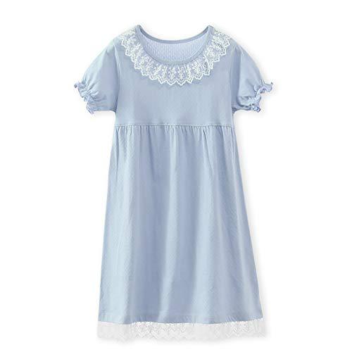 SELILALI 子供 ネグリジェ ナイトドレス プリンセス パジャマ 女の子 ワンピースパジャマ かわいい レース ルームウェア 半袖 綿 部屋着 寝間着 ナイトウェア ブルー 120