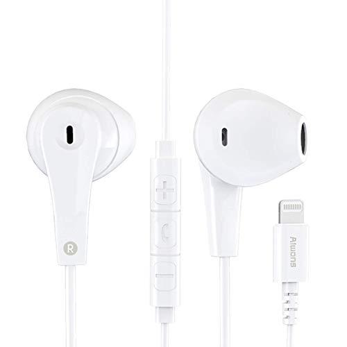 Auricolari per iPhone MFI Certified, Earpops Cuffie con Connettore Lightning Forniscono Controllo del Volume e del Microfono Compatibile con iPhone 7 8 X XR XS 11 Supporta tutti i sistemi iOS