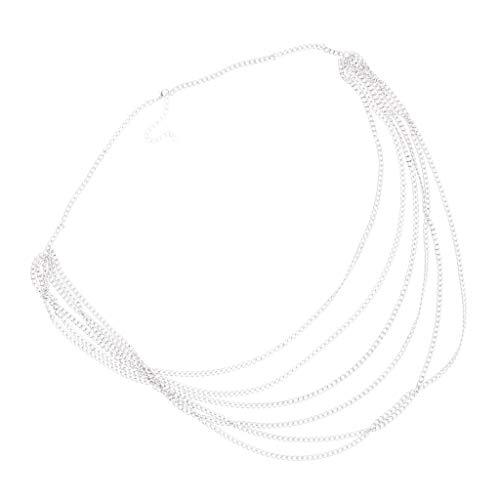 SM SunniMix Bikini-Bauchkette Hüftkette Taille Kette Strandkörperschmuck für Kleid, Jeans, Lederhosen, Bikini - Silber