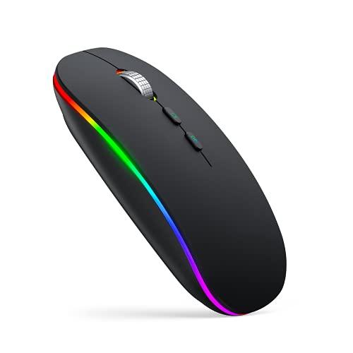 Maus Kabellos LED, iTopschy Silent Wiederaufladbar Funkmaus(2.4G), Leise Kabellose Mäuse mit USB Nano Empfänger, RGB Computer Wireless Mouse für Laptop PC, MacBook, Mac OS/Windows/Andriod, Schwarz