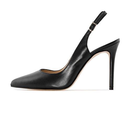 Soireelady Damen Slingback Pumps,Spitz Sandalen Stiletto High Heel,10cm Hohe Absätze Damenschuhe Schwarz 43