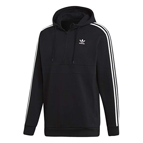 adidas Originals Men's 3-Stripes Half-Zip Sweatshirt, black, Large