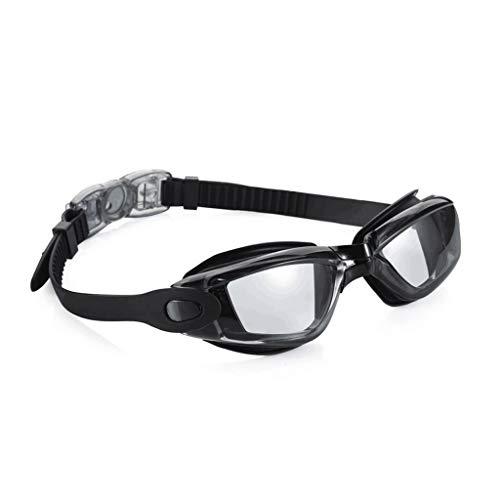 HOTPINK1 Gafas de natación con espejo, antivaho y protección UV, unisex, color negro