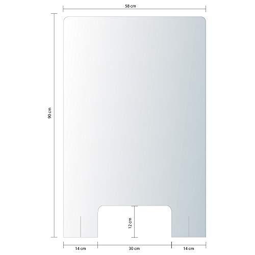 Vitre de Protection en Plexi - Dispositif de sécurité - Hygiaphone - Dimensions 90 x 58 cm - Livré avec 2 Pieds pour Supports
