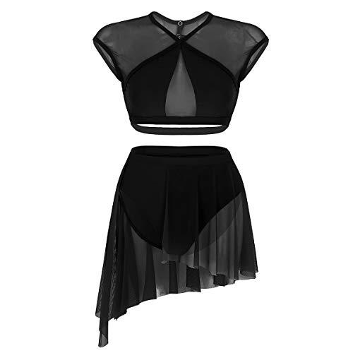 Agoky Zweiteiler Damen Erwachsene Ballettkleid Tanzkleid Modern Lyrischen Kleid Latin Dance Kostüm Outfits Ärmellos Crop Tops Kreuz Rücken Asymmetrischer Rock Schwarz XL