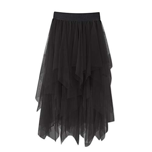 Kviklo Damen Elastische Taille Unregelmäßig Tüll Tutu Rock Mittlere Länge Petticoat Mädchen Chiffon Sommer Unterrock(a Schwarz,One Size)