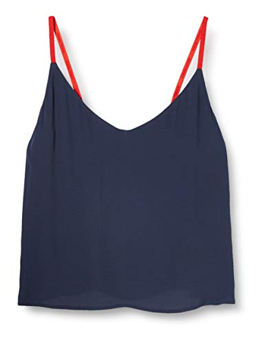 Tommy Jeans Damen Tjw Branded Straps Cami Top Bluse, Blau (Twilight Navy C), 34 (Herstellergröße: Small)