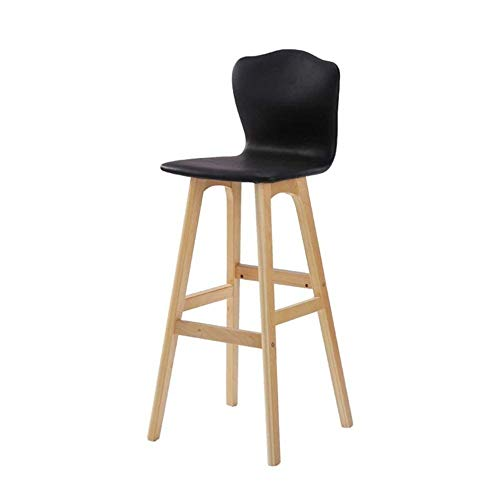 ZCXBHD Massief houten barkruk Nordic Creative hoge stoel kruk modern minimalistisch hoog geschikt voor bar keuken ontbijt bar café zwart