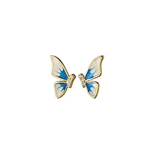 HUYV Pendientes para Mujer,Moda Alas De Mariposa Azul 925 Pendientes De Plata para Regalo De Joyería De Cumpleaños De Navidad Hombres Niñas