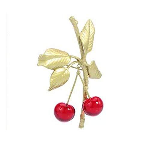 Accesorios De Broche Pátina Dorada sobre Bronce con Cristal De Cristal Little Cherry De Lujo Vintage para Mujer Broche De Joyería