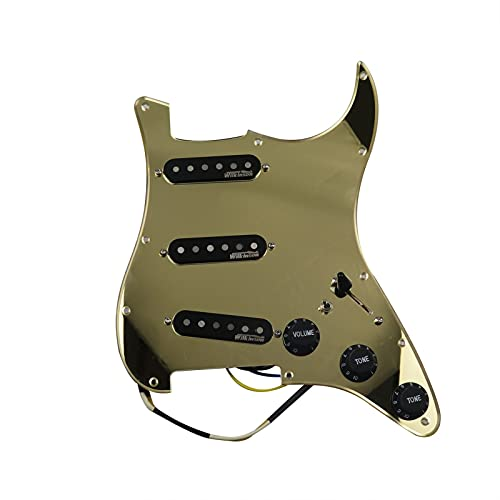 Accesorios de Guitarra Pickguand Pre-cableado De Carga Completa De 7 Vías Wilkinson SSS AINICO 5 Kit De Recogida De Una Sola Bobina para Stratocaster Guitarras Eléctricas (Color : Golden Mirror)