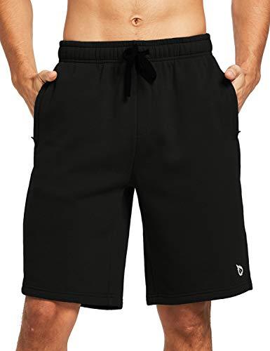 BALEAF Men's 9' Fleece Gym Shorts Cotton Casual Sweat Shorts Zipper Pockets Home Jogger Fitness Workout Black XL