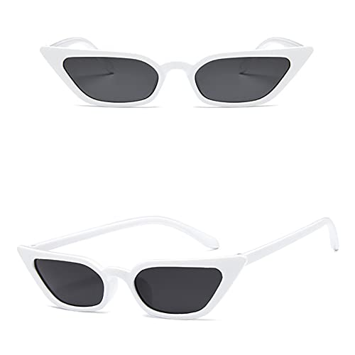 KAITUO Gafas de sol sexy para mujer con ojo de gato, gafas de sol pequeñas, gafas de sol femeninas UV400 (color: blanco)