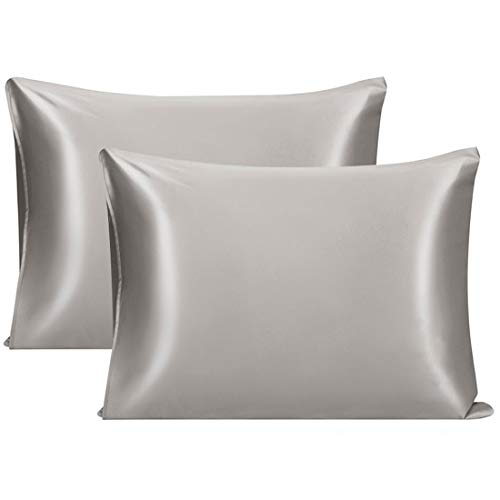 PiccoCasa 2 Pcs Silk Pillowcase for Hair and Skin, Natural Silk Pillow Cover Prevents Sleep Wrinkles, Both Sides 22 Momme Silk, Envelope Closure, Best Gift with Gift Box Dark Gray Standard