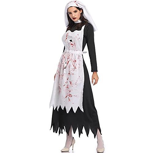 NISOWE Disfraz de ngel oscuro para mujer, disfraz de Halloween, disfraz de cosplay, vestido de fiesta, Negro , M