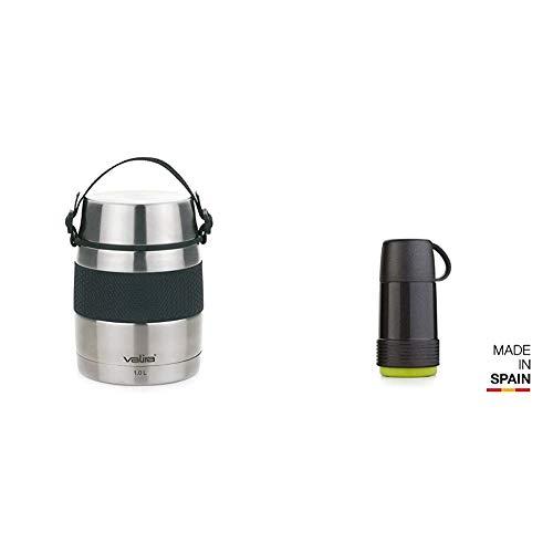 Valira VAN6615 Inoxterm - Termo para sólidos con 2 contenedores interiores, Gris, 1 L + 6109/128 Termo 0,25 L, Negro-Verde