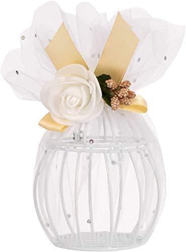 QILICZ Bomboniera Gabbia In Tulle, 12 Pezzi Matrimonio Scatola Regalo Mini Lanterna Rotonda Con Decorazione Floreale Decorazione Matrimonio Caramelle Scatola Per Matrimonio, Battesimo, Comunione