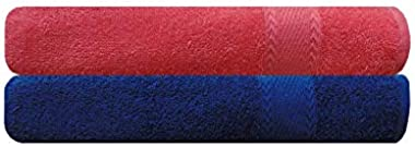 Trendify Premium Cotton Royal Blue and Peach Bath Towel Set of 2   Towel Combo Pack   Bathroom Towel   Towel Set for Couple  
