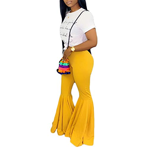 Women Mermaid Bell Bottom Pants Elastic Waist Solid Flare Leggings S Yellow