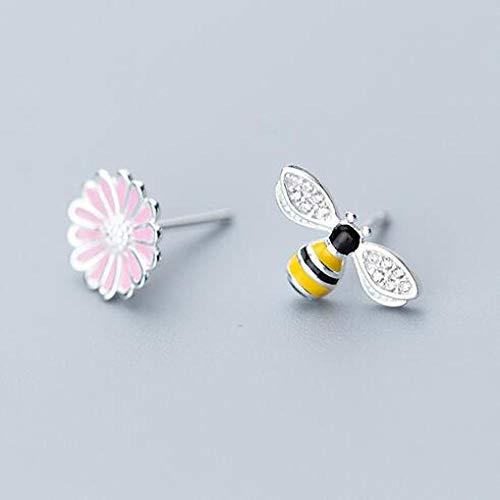 Pendientes Mujer Pendientes De Botón De Mariposa Pequeños Bonitos De Plata De Ley 925, Regalo para Mujer, Joyería De Plata De Moda-H_Pink_Flower