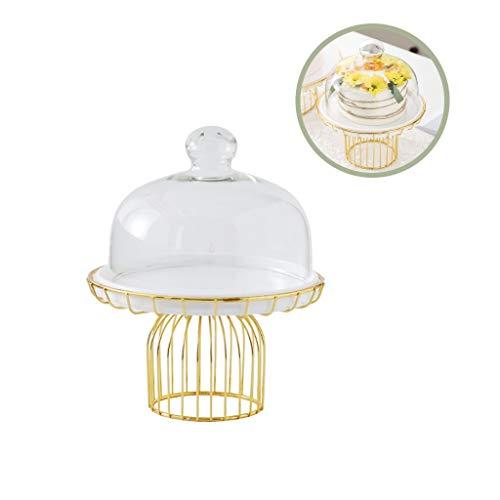 Z-W-DONG 20,8 / 29cm Dienblad van de Cake, witte keramische plaat met metalen onderstel bruiloft decoratie Dessert Stand Glass Cheese Donut Dome cake Standaards (Size : 20.8 * 20.8 * 25.2CM)