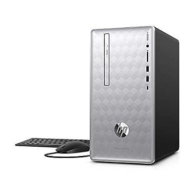 HP Pavilion 590 Desktop Computer, 8th Intel 6 Cores i5-8400, 2.8GHz up to 4.0GHz, 12GB RAM and 16 GB Intel Optane Memory, 1TB HDD, Bluetooth 4.2, WiFi 802.11ac, Win10 (12GB RAM)(Renewed)