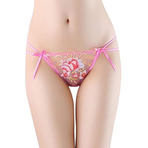 L Big Boss Damen Slip, bestickt, Netzstoff, durchsichtig, niedrige Taille, Baumwolle Gr. Einheitsgröße, rosarot