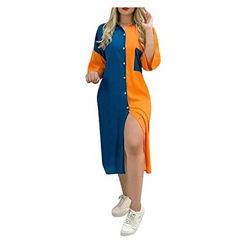 BOOMJIU Vestido Mujer Camisero de Rayas Cuello en V Manga Larga PatchColor Casual Playa Largos Boho Floral Maxi Vestido