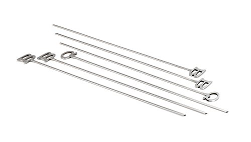 Outset 16' Stainless Steel Bbq Grill Skewers Set 6 Shish Kabob Vegetable Steak