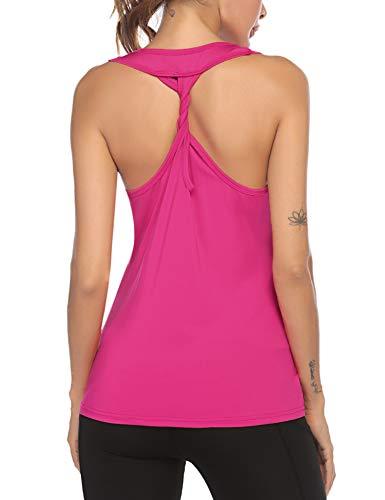 ADOME Tank Top Damen Sporttops Fitness Yoga Top Gym Sommer LooseOberteil Ärmellos Rückenfrei Laufen für Frauen Rot