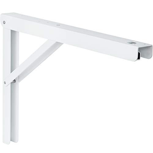 Schwerlast-Konsole Klappkonsole Tisch - Sitzbank Klappträger klappbar PROFI LINE | Metall weiß beschichtet | 300 x 30 x 200 mm | Tragkraft 180 kg | MADE IN GERMANY | 1 Stück - Klappwinkel für Wand-Montage