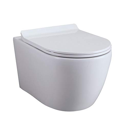Homary Wall Hung Elongated Toilet Bowl 1.1/1.6 GPF Dual Flush Toilet Ceramic Wall Mount Toilet with In-Wall Tank and Carrier System in White, Water Saving (Bowl Only)