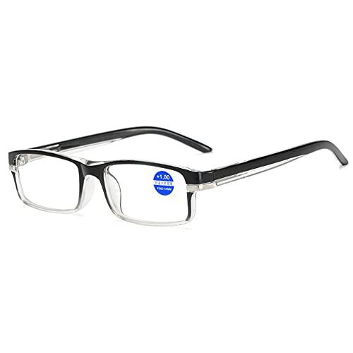 LGQ Gafas de Lectura de luz Anti-Azul para Hombre, anteojos de visión HD de Pierna de Primavera, Lupa de Lente de Resina asférica,+1.00