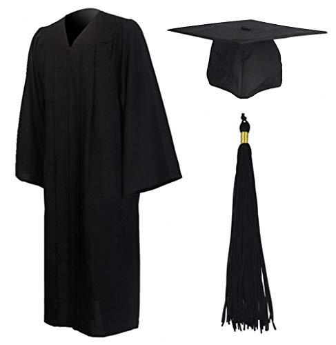 GraduationMall Abschluss Talar Doktorhut und Quaste 2020 für Hochschule und Bachelor Akademischer Talar mit Hut Schwarz 54 Große Größen(173cm - 179cm)