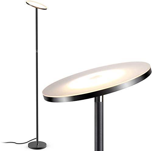 JUNING Lámpara de pie LED, 40W, 3000k, 5 niveles de brillo, control táctil, luz de pie de poste moderna regulable sin escalonamientos, compatible con enchufe inteligente, 180cm