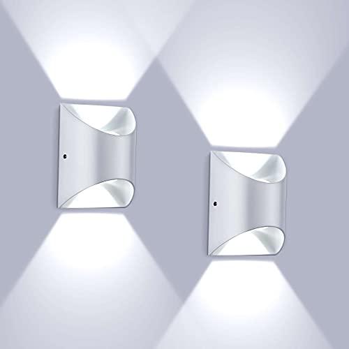 SISVIV 2 Pezzi LED Lampada da Parete Interno 6W IP65 Impermeabile Applique da Parete Esterno Moderno Lampada da Muro per Soggiorno Corridoio Balcone Scale Bianco