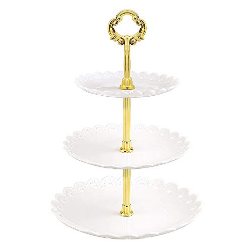 3 Tier Plastic Cupcake Stands, Cupcake Holder, Dessert Stand Fruit Plate, Fruit Candy Buffet Serving Tray for Wedding Birthday Baby Shower(White)