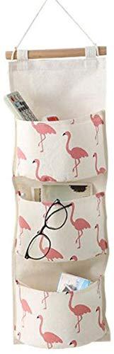 AIUIN Flamingo Pattern Wall Hanging Storage Bag Impermeable sobre la Puerta Closet Closet Organizer Box Linen Fabric Hanging Pocket Organizer Bag para Dormitorio, baño (Rojo)