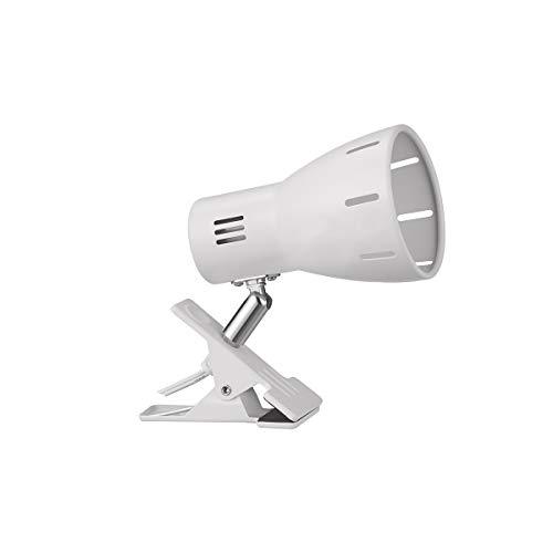 クリップライトE26口金 回転可能 便利 ディスプレイライト ベッドサイドテーブル お部屋 寝室 店舗 テスクでの照明に適用 中間スイッチで入切可能 コード長さ1.5M LED電球専用器具ホワイト(電球付属しておりません)Dawalight